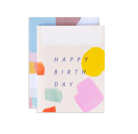 hand painted and stamped birthday card from Iowa based studio, Moglea. perfect for a joyful birthday wish. Stamped with blue foil and comes with a patterned envelope.