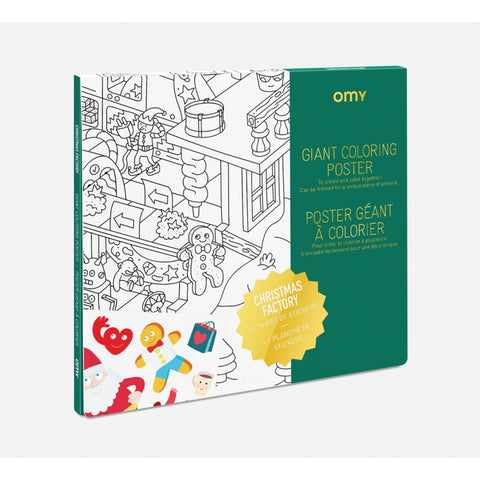 Color your way through Santa, the elves, and the magical land of the North Pole with the giant coloring poster from Omy. Made in France, it is a thoughtful and fun way to have fun as a family. Use it as decoration or a tablecloth or on display in a children's room.