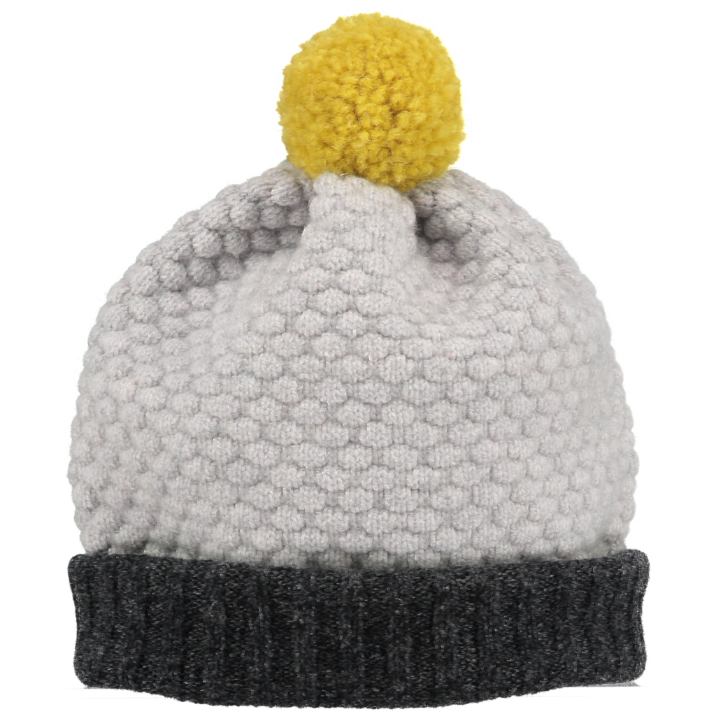 Color block 100% lambswool hat with pom pom by UK designer Catherine Tough at Port of Raleigh
