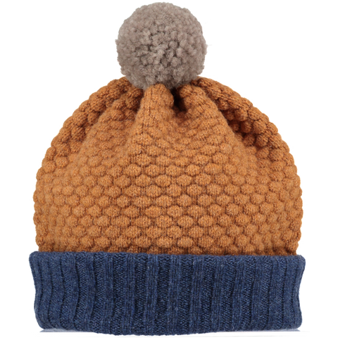 Modern color block lambswool hat by UK designer Catherine Tough