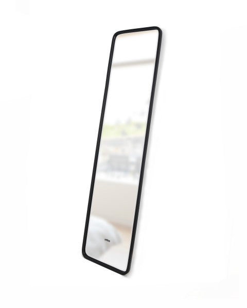 "Modern, simple, and minimalist 62"" floor length mirror in matte black rubber frame by Umbra. Can lean against a wall or be mounted on the wall."