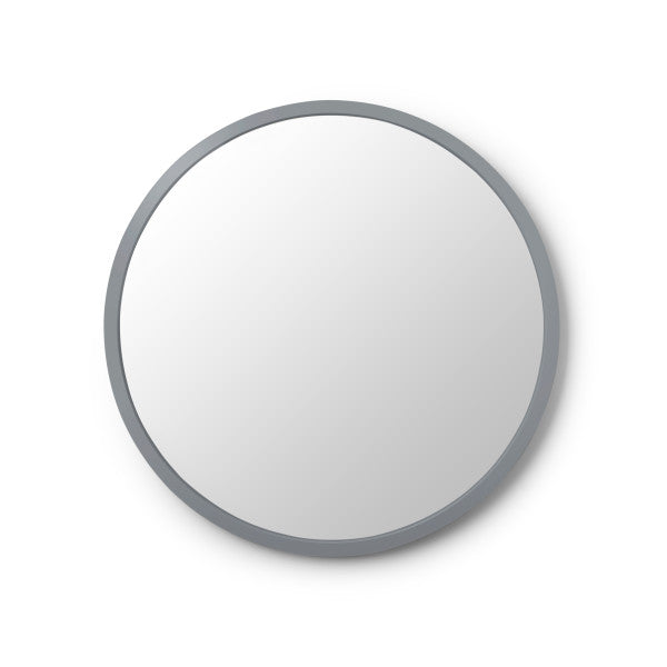 "Modern, simple, and minimalist 24"" round wall mirror in matte black rubber frame by Umbra"