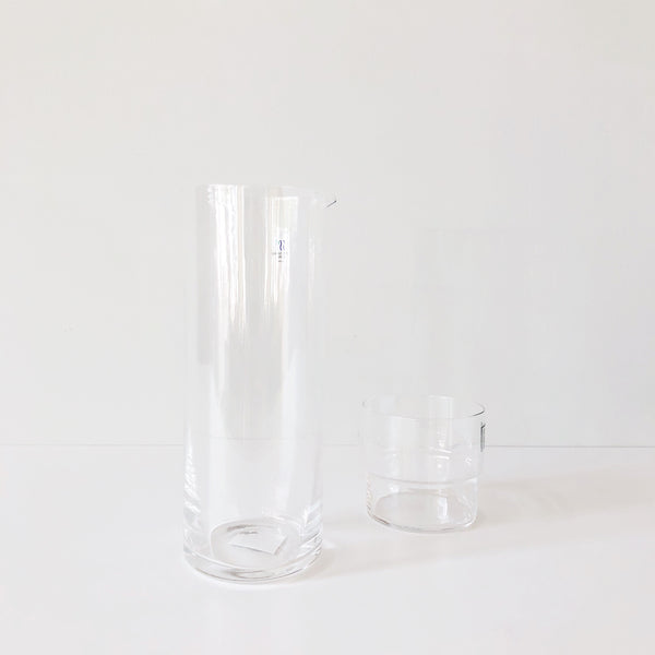 Glass Pitcher is gorgeously clean and simple. The top is crafted in the beloved Japanese space-saving style to perfectly stack your Hard Strong Stacking Glasses, increasing storage space in cabinets or on countertops.  at Port of Raleigh