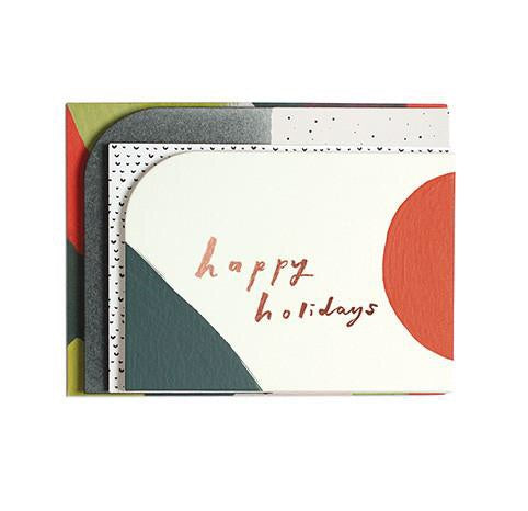 Holiday Card - Happy Holidays Shape, Set
