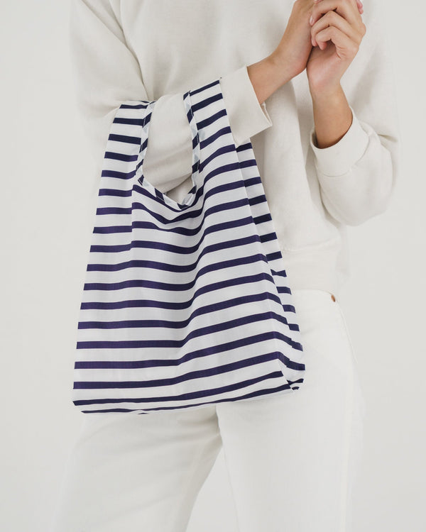 Baby Baggu resuable shopping bag in navy white sailor stripes for everyday use