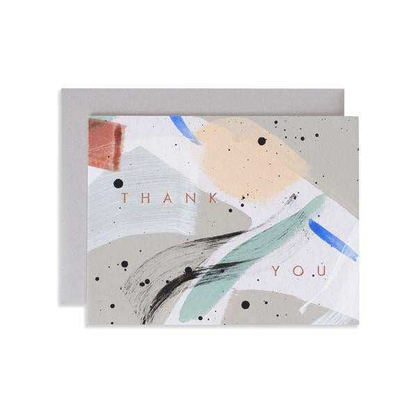 A thank you card inspired by the shades of the seaside. Hand painted and hand stamped in Iowa by studio, Moglea. Stamped with copper foil and comes with a clean, grey envelope.