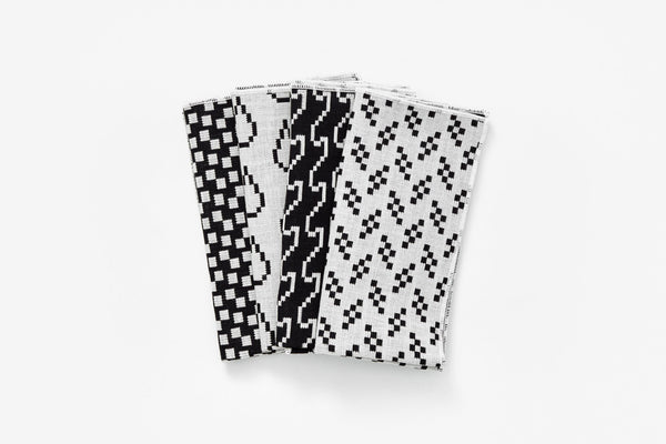 Modern black and white cotton napkin set Bitmap Textiles by Areaware at Port of Raleigh
