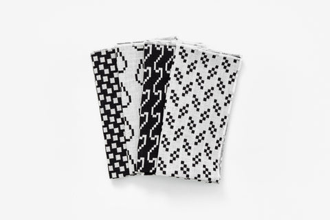 Modern black and white cotton napkin set Bitmap Textiles by Areaware