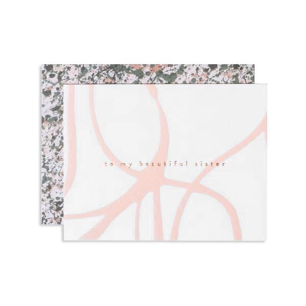 Wish the sister or sister-friend in your life love with this femininely painted card. Hand painted and hand foil stamped in Iowa by Studio, Moglea, this card is the perfect touch of intentionality. at Port of Raleigh