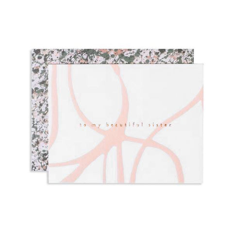 Wish the sister or sister-friend in your life love with this femininely painted card. Hand painted and hand foil stamped in Iowa by Studio, Moglea, this card is the perfect touch of intentionality.