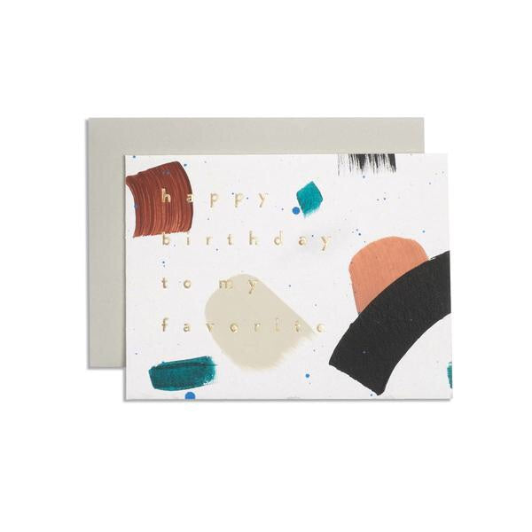 Wish the happiest of birthdays with this shape scattered card from Iowa based studio, Moglea. Hand painted and hand stamped, and it comes with a clean tan envelope. at Port of Raleigh