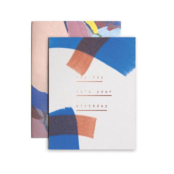 hand painted and stamped birthday card from Iowa based studio, Moglea. perfect for a joyful birthday wish. Stamped with copper foil and comes with a patterned envelope.  at Port of Raleigh