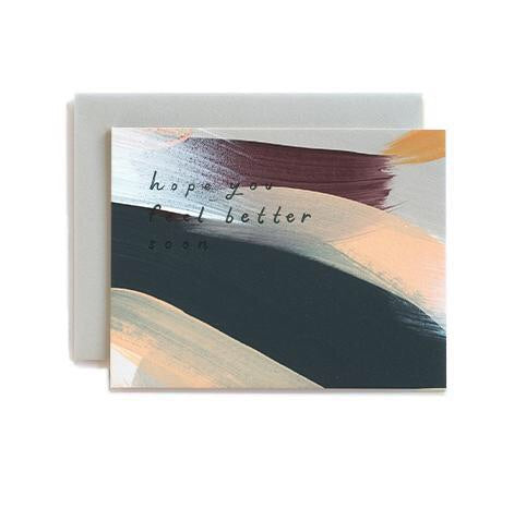 Broad and bold strokes and a message of hope make this sympathy card the perfect intentional gift. Hand-painted and hand-stamped by Iowa based studio, Moglea, and comes with a clean grey envelope. at Port of Raleigh