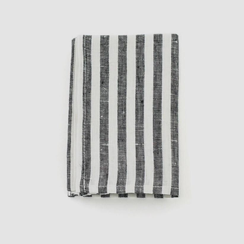Linen Kitchen Cloth, Black White Stripe at Port of Raleigh