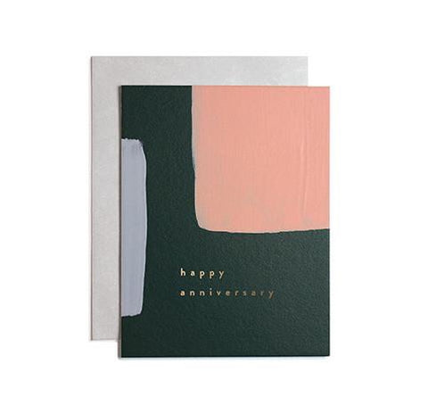 An anniversary made even more special with this colorblock painted card from Iowa based studio, Moglea. Hand stamped with copper foil and paired with a simple solid envelope.