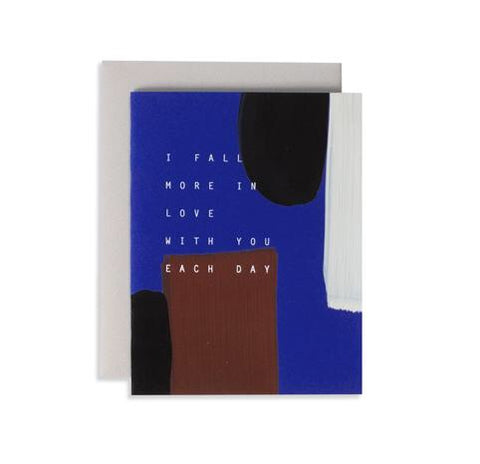 If you're in love, you'll love this card, from Iowa based studio, Moglea. Simple yet striking paint strokes over a rich blue background, and comes with a clean grey envelope.