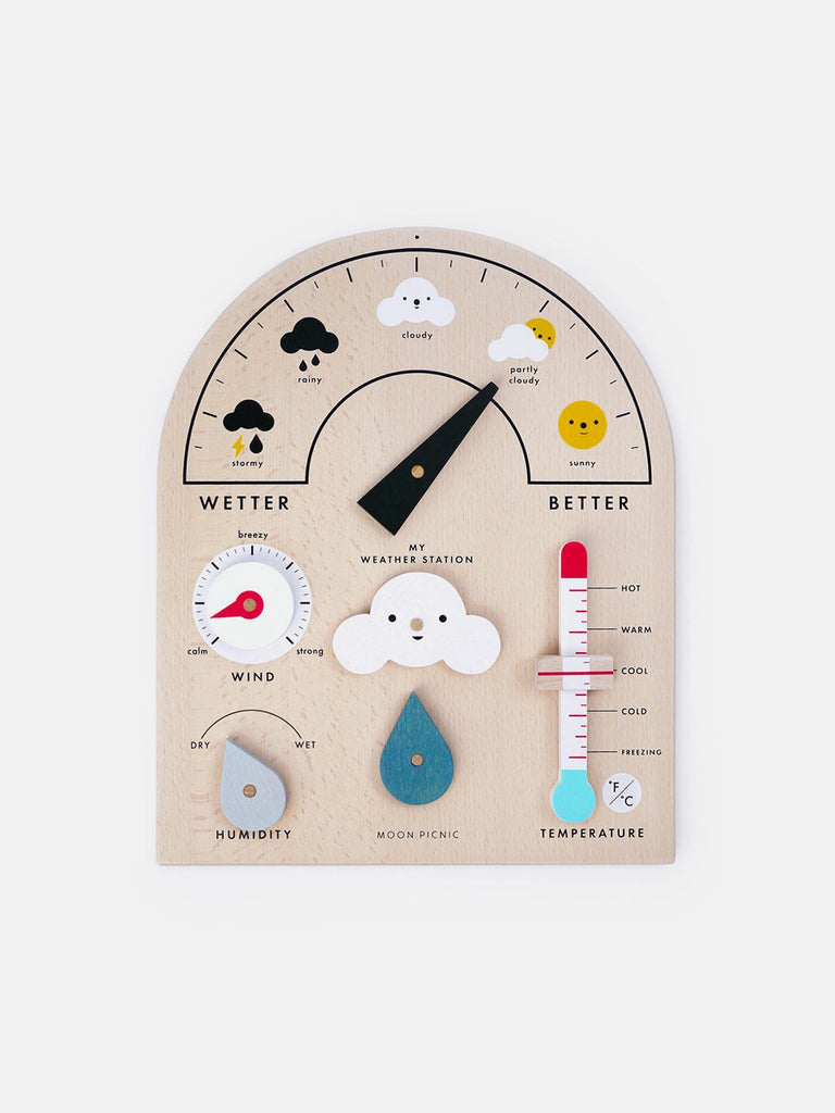 Learn about reporting and forecasting the weather with this wood Weather Station by Moon Picnic! Made in Vietnam with solid beech wood from sustainable certified forests, each weather station comes with moveable parts and symbols that make learning fun, no matter the weather. at Port of Raleigh
