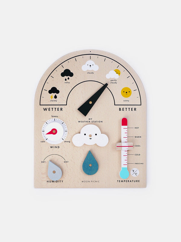 Learn about reporting and forecasting the weather with this wood Weather Station by Moon Picnic! Made in Vietnam with solid beech wood from sustainable certified forests, each weather station comes with moveable parts and symbols that make learning fun, no matter the weather.