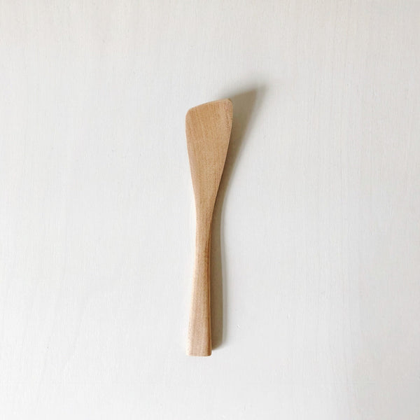 A simple and timeless wood jam spatula, made in Japan on the island on Miyajima. Sculpted in Cherry Wood, with the lovely grain coming through, this simple but gorgeous tool will make an art out your spreads.  at Port of Raleigh