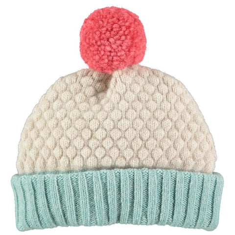 Playfully textured and color blocked kids' bobble hats made in London of 100% lambswool by Catherine Tough