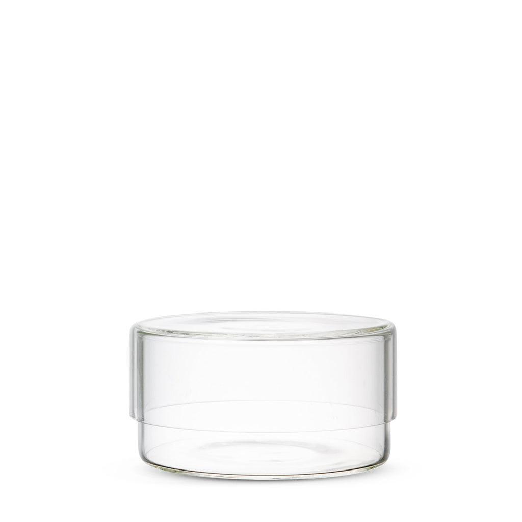 Simple glass canisters with lid for minimalist storage in the bathroom, office, vanity, and kitchen. Heat resistant glass designed by Kinto Japan at Port of Raleigh