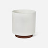 Modern architecturally inspired ceramic pot with Brazilian Walnut wood plant stand by Modernica made in Los Angeles at Port of Raleigh