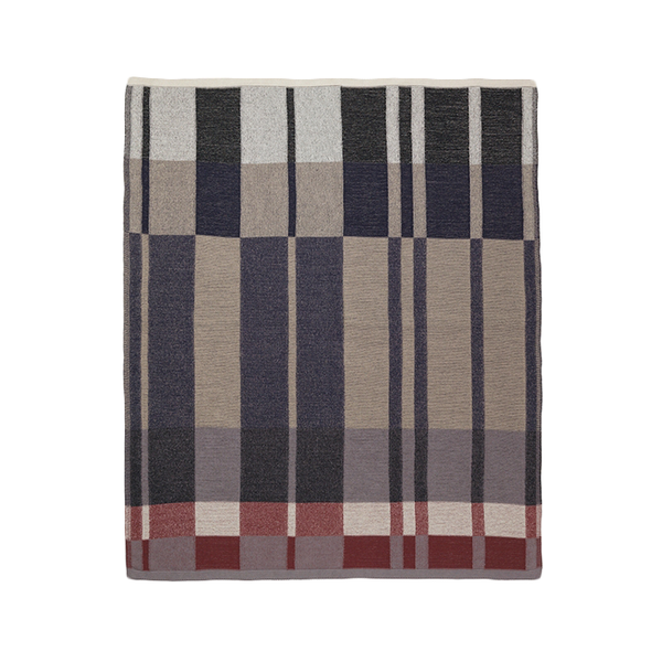 contemporary color block and lines cotton knit blanket by Ferm Living at Port of Raleigh