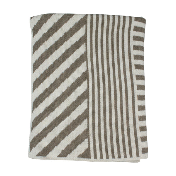 A modern and minimal baby size blanket made with recycled cotton and acrylic. A super soft and happy accent for baby and home. Made in the USA by Happy Habitat.