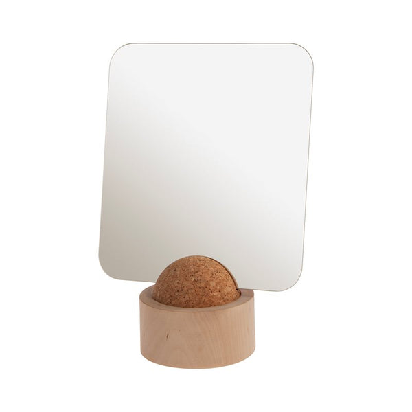 Minimalist and simple geometric tabletop shelf mirror made of cork and birch wood in Sweden by Iris Hantverk at Port of Raleigh
