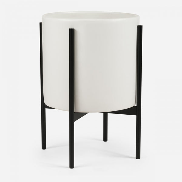 Modern architecturally inspired ceramic pot with metal plant stand by Modernica made in Los Angeles at Port of Raleigh