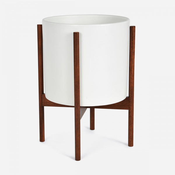 Modern architecturally inspired ceramic pot with Brazilian Walnut wood plant stand by Modernica made in Los Angeles