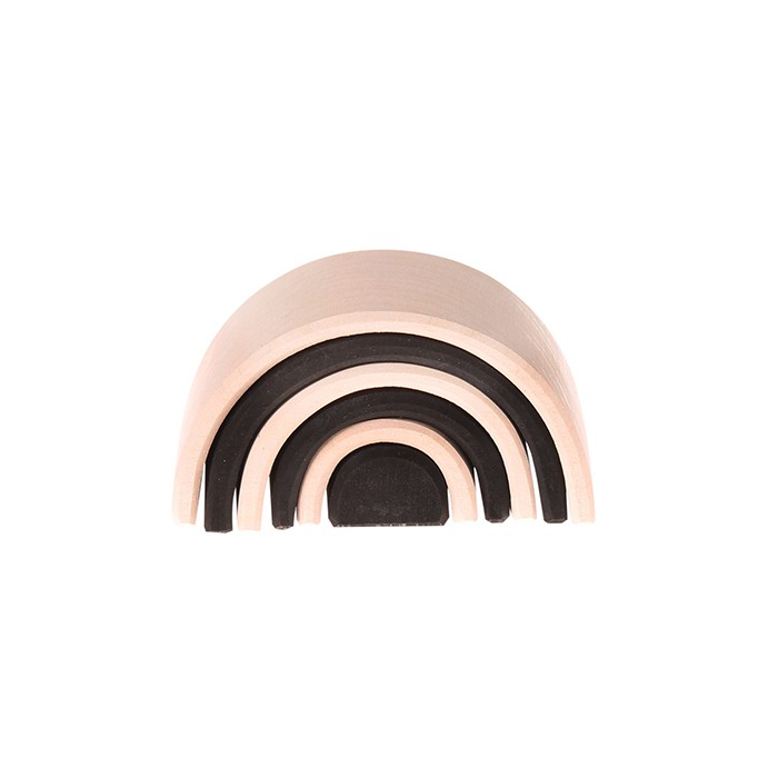 Minimalist wood stacking tunnel object/toy in natural and black monochrome. Hand sanded, non-toxic paint, modern toy in FSC Certified Wood designed by Grimm's at Port of Raleigh