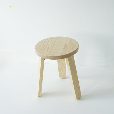 Modern and minimalist simple wood chair in solid Ash wood by Canadian design studio KROFT. Friendly silhouette and solid construction make this stool perfect as a side table, night stand, and well, a sitting stool. Made in Canada.