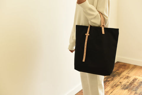 Light weight minimalist Ripstop Nylon tote bag with vegetable tanned leather adjustable straps made in USA in NYC by 864 Design