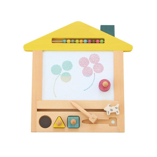Draw with ease of skill and style with this magnetic drawing board. Made in Japan, it has a 4-colored background, and erases with the swipe of a dog. Perfect toy or gift for young children, and gives every parents or guardian peace of mind from mess.