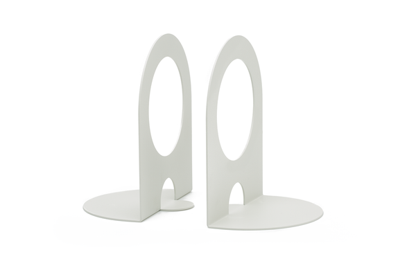 Powder coated steel bookends that make arranging your books both fun and functional. Designed by Most Modest, these bent steel bookends are made in the US, and are sure to liven your bookshelf, desk, and table top.