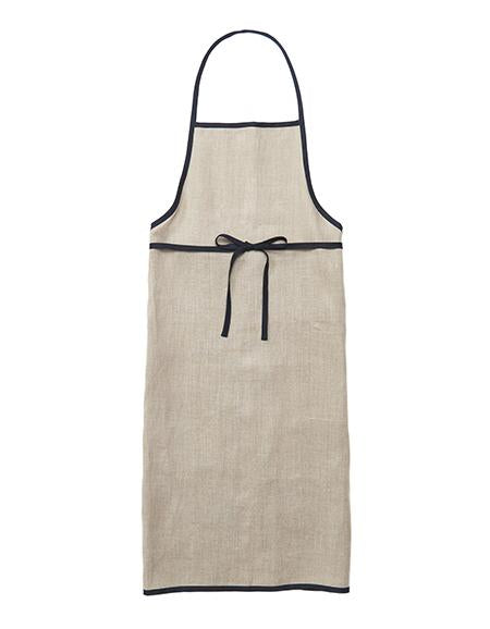 Designed with every cooking and cleaning endeavor in mind, this functional yet soft apron will be your daily assistant. Sewn with a large front pocket and contrast linen edge piping, these aprons are made in Japan by Fog Linen. Full length with waist ties.