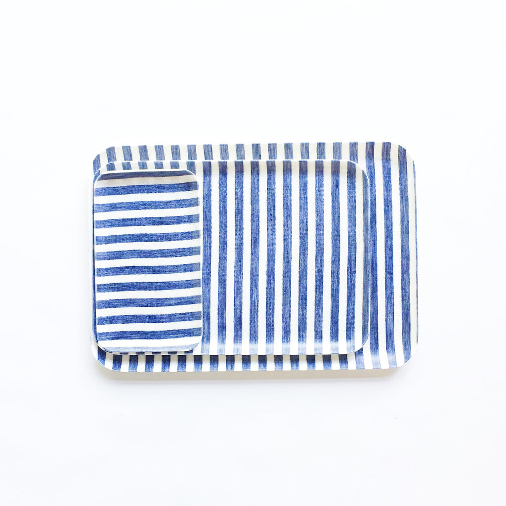 Linen Resin Tray White Blue Stripe at Port of Raleigh