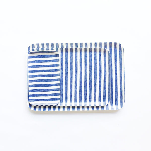 Linen Resin Tray White Blue Stripe