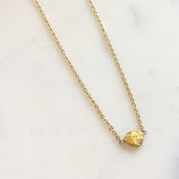 Raw Gold Nugget Necklace - Small