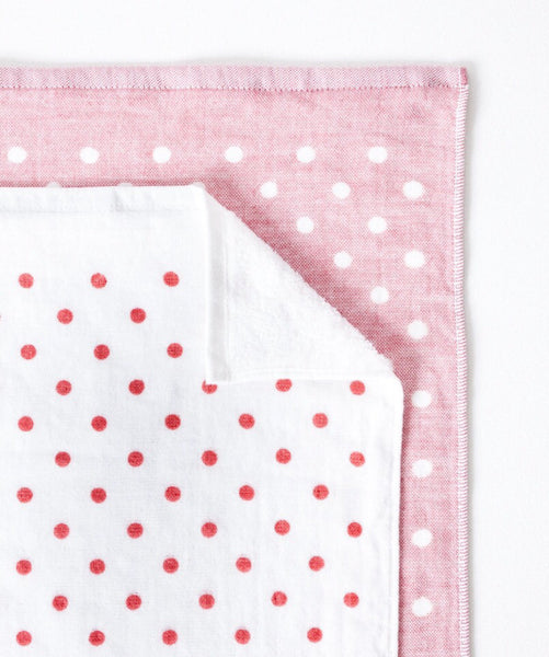 Red Polka Dot Chambray Towel at Port of Raleigh