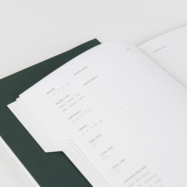 A recipe notebook with a modern and minimal design, sized to let you take it with you wherever you dine and whenever cooking inspiration strikes. Designed in collaboration between Mishmash and The Art of Plating, it has three colored tabs and has a recipe style layout with room for 66 recipes and recording every detail you need to replicate your favorites meals.