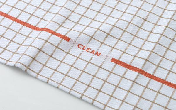 "Minimal and modern tea towel with colors and patterns reminiscent of Nordic folklore. Made with Industrial cotton twill, making them highly absorbent and fast drying. Printed with the graphic ""clean,"" adding a lighthearted touch to everyday cleaning.  Designed by Sofia Bordoni."