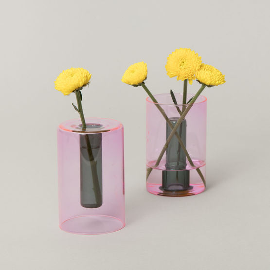 Modern two-way colored glass vase for small floral arrangement or single stem display. Made of borosilicate glass by Block Design in UK