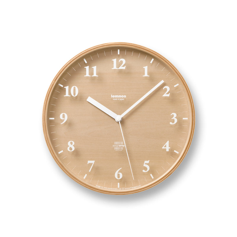 Snow Clock made in Japan by Lemnos is a modern plywood wall clock that casts simple and enchanting shadows  at Port of Raleigh