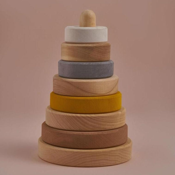 Minimalist wood stacking tunnel object/toy in natural earth tones. Hand sanded, non-toxic paint, modern toy, responsibly sourced lime wood. Made in Russia by Raduga Grez.