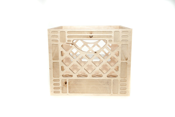 Wooden crates made in USA from high-density birch plywood crate that can stack and flip. a standard industrial storage container, these crates transform the storing process from simply giving things a place, to proudly collecting and displaying things in your life spaces. at Port of Raleigh