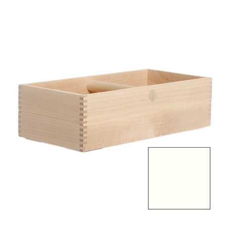 Simple, timeless, minimal storage box caddy with handle made of natural birch wood in Sweden by Iris Hantverk. With laminate interior base.
