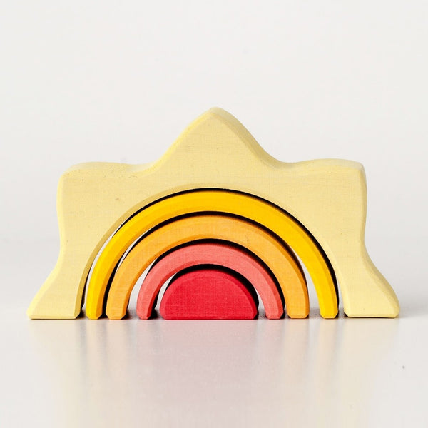 Minimalist wood stacking tunnel object/toy in vibrant sun shades. Hand sanded, non-toxic paint, modern toy, responsibly sourced lime wood. Made in Russia by Raduga Grez.