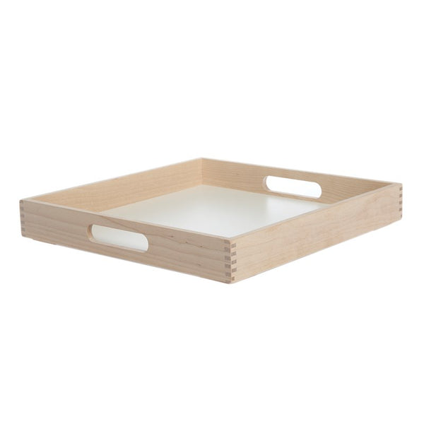 Simple and timeless square tray with handles made of Birch Wood and a white laminate bottom. Made in Sweden by Iris Hantverk
